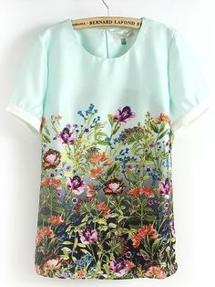 Light Green Short Sleeve Florals Print Blouse - Sheinside.com
