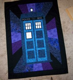 Doctor Who - Tardis Quilt for the back I would use brighter colors, yellows and reds, give contrast