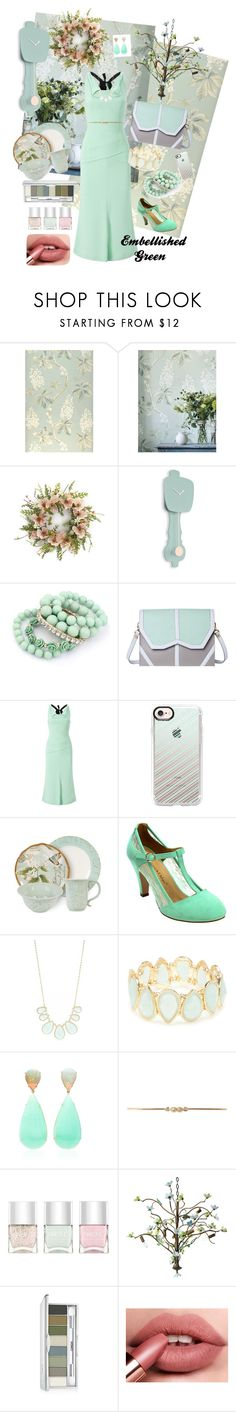"""Embellished Green"" by mb-magic-styles ❤ liked on Polyvore featuring Hera, Emeline Coates, Roland Mouret, Casetify, Fitz & Floyd, Kim Rogers, Dorothy Perkins, Nails Inc., Canopy Designs and Clinique"