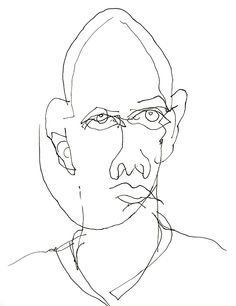 Blind Contour Drawing of Myself (Self-portrait)