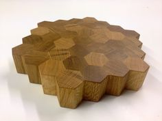 (AWESOME) Chunky handmade hexagonal butchers block style end grain chopping board in either oak or walnut, finished in a food safe tung oil. Approximately