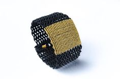 Big macrame bracelet - gold bracelet - boho bracelet - handmade bracelet with silver, gold plated button in the closure ! A unique macrame bracelet in black color with a big gold part in the middle ! Easy and comfortable to wear, really impressive and elegant ! It is made of high