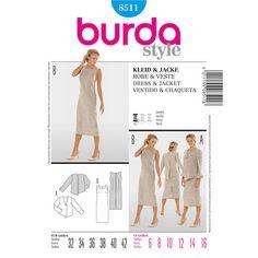 Burda 8511 Women's Dress And Jacket  6 - 16