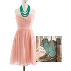 """""""Pink and Turquoise Bridesmaid Outfit"""""""