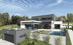 Ultra contemporary in the monts d& by miami design / eric touraille creations modern concrete Garage Guest House, Luxury Modern Homes, Container House Design, Dream House Exterior, Home Fashion, Modern House Design, Villas, Modern Architecture, House Plans