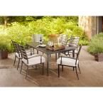 Hampton Bay Marshall 7-Piece Patio Dining Set with Textured Silver Pebble Cushions-HD14306 at The Home Depot