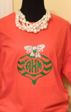 Monogrammed Chevron Ornament Shirt  by PolkaDottedSunflower