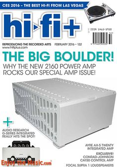 EnjoyTheMusic.com has just posted a sneak peek of the February issue of Hi-Fi+ magazine!  This issue features reviews of the Boulder Audio 2110/2160 pre and amp, Luxman C700U/M700U pre and amp, Audio Research GSI75 int valve amp/DAC, conrad-johnson CA150 int amp, Benchmark AHB2 amp and more. See what's within this issue of  Hi-Fi+ at www.EnjoyTheMusic.com/hifi_plus/