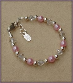 Little girls' pink with silver beaded bracelet