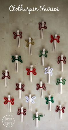 Simple wooden clothespin fairy dolls for a cute pretend play prompt for fairy party favour idea. Affordable and easy to make. ~ Danya Banya