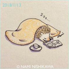 1381 むにゃむにゃ… #sleepy Hedgehog Drawing, Hedgehog Art, Cute Hedgehog, Hedgehog Illustration, Illustration Art, Kawaii Drawings, Easy Drawings, Angst Im Dunkeln, Dibujos Cute