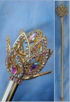 AURORA BOREALIS IMPERIAL ROYAL FLEUR RHINESTONE GOLD SCEPTER Genuine Austrian Crystal Scepter with motif on front and back and 19 inch wand handle and ball of s