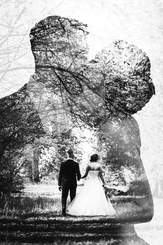 Double exposure effect, wedding photography wedding couple Wedding Picture Poses, Wedding Couple Poses Photography, Pre Wedding Photoshoot, Wedding Poses, Wedding Shoot, Wedding Pictures, Wedding Picture Frames, Engagement Photography, Creative Wedding Photography
