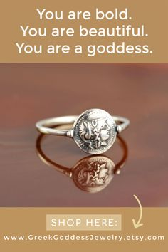 A delicate silver ring with an ancient coin representing the fearless goddess Athena, the archetype of the brave woman, boldly striding across life, whose greatest strength is her outstanding intelligence.  Athena is the Greek goddess of wisdom, courage, crafts and defense war.  #coinring #greekjewelry #coinjewelry #bohoring #antiquering #antiquejewelry #bohemianjewelry