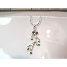 Charm necklace silver branch with olive green crystals ($26) ❤ liked on Polyvore featuring jewelry, necklaces, silver charm necklace, chains jewelry, imitation jewelry, imitation jewellery and chain necklaces