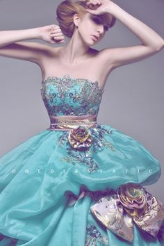 Beautiful Turquoise wedding dress.