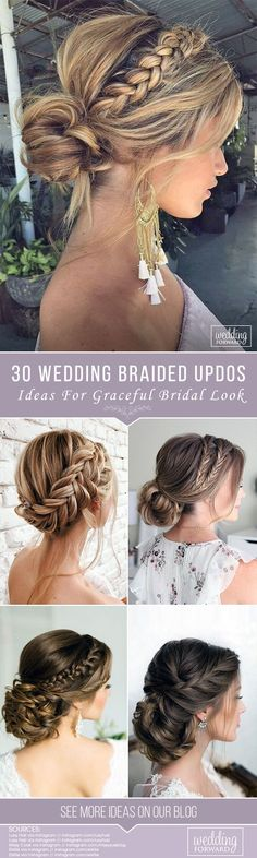 30 Graceful Wedding Updos With Braids ❤️ See more: http://www.weddingforward.com/wedding-updos-with-braids/ #weddinghairstyles #bridalhairstyles #bridal #weddingupdoswithbraids