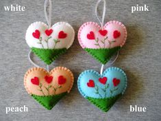 Flower Heart Felt Ornament Heart Decor Heart Embroidery Home Flower Ornaments, Felt Christmas Ornaments, Handmade Ornaments, Heart Ornament, Valentine Crafts For Kids, Valentines Art, Felt Decorations, Valentine Decorations, Chicken Crafts