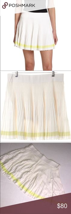 Rebecca Minkoff White Skirt Size Large Rebecca Minkoff Skirt  Size L White Skirt with yellow stripe around skirt Stretchy waist band  Measurements in pictures  100% Cotton Rebecca Minkoff Skirts