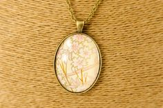 Oval blossom pendant in pink and gold - kikulu handmade jewellery and vintage jewellery Vintage Jewellery, Handmade Jewellery, Vintage Costume Jewelry, Vintage Costumes, Handmade Items, Paper Mulberry, Paper Jewelry, Organza Bags, Pendant Set