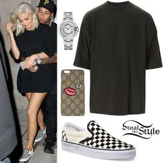 Kylie Jenner was spotted leaving Kanye Wet Studio in New York wearing a Fear of God by Jerry Lorenzo Collection Two Metallica T-Shirt (Not available yet), her Gucci Embroidered-Face iPhone 6 Plus Case ($296.00), a Cartier Ballon Bleu Watch (Not available online) and Vans Classic Slip-On ($50.00).