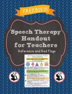 This is a great handout for elementary teachers!  This is a one page simple handout that outlines red flags for speech therapy services. Terms of Use: Please do not copy this product (including layout, design, and content). You may share this with teachers, staff, or parents.
