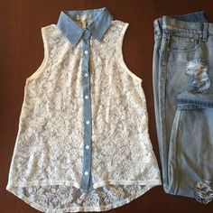 See through lace tank with denim trim Cute lace button down tank top with denim trim down the bottoms and on the collar. 100% nylon. Kirra Tops Tank Tops