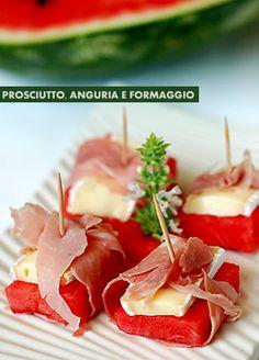 > summer finger food | Parma ham, watermelon & Brie cheese