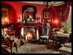 Image result for antique pictures + victorian + parlor