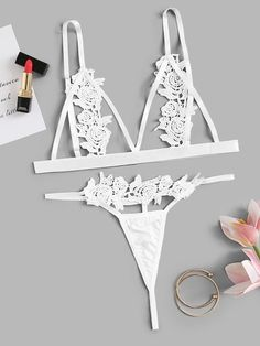 Shop Appliques Triangle Top With G-string Lingerie Set online. SHEIN offers Appliques Triangle Top With G-string Lingerie Set & more to fit your fashionable needs. Jolie Lingerie, Women Lingerie, Sexy Lingerie, Lingerie Sets, Lingerie Outfits, Vintage Lingerie, Bra Types, Triangle Top, Bra Straps