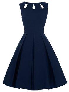 Rosewholesale Vintage Dresses Cut Out Skater Dress Purplish Blue L Cut Out Skater Dress, Cutout Dress, Skater Dresses, Bodycon Dress, Vestidos Vintage, Vintage Outfits, Vintage Dresses, Party Dresses For Women, Cheap Dresses