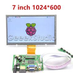 Raspberry Pi 7 inch LCD Display 1024*600 TFT Monitor Screen with Drive Board HDMI VGA 2AV for Raspberry Pi 3 / 2 Model B / B+