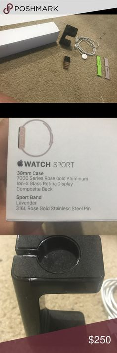 Rose gold Apple Watch I have a rose gold 38 mm Apple Watch, 2 bands, a stand, charger, and original box. Other