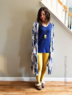 LuLaRoe Classic tee with mustard leggings, printed Sarah cardigan, moccasins for fashion trends and style inspiration. Shop here: https://www.facebook.com/groups/LularoeKaraMiller/
