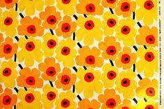 Marimekko fabric yellow/orange Mini Unikko 145x50cm by Maija Isola