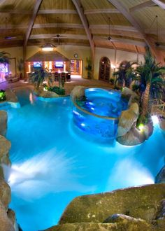 If you're going to go with an indoor pool, it might as well be totally awesome. Love this! #luxurypool