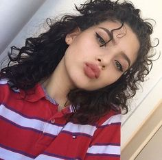 beautiful curly girl perfect eyeliner pretty full well shaped brows