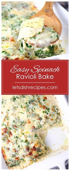 Easy Spinach Ravioli Bake: Refrigerated ravioli is layered with a creamy, Alfredo style sauce, fresh spinach, pesto and shredded cheese in this hearty pasta bake the whole family will love. Cheese Ravioli Recipe, Spinach And Cheese Ravioli, Baked Ravioli Casserole, Spinach Ravioli, Spinach Bake, Spinach Casserole, Ravioli Bake, Pasta Bake, Baked Alfredo Recipe