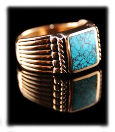 Lone Mountain Turquoise Gold Mens Ring by Dillon Hartman