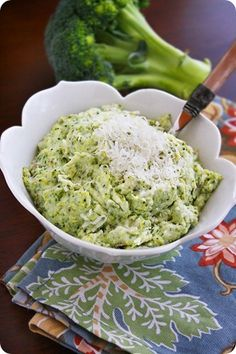 """Asiago Mashed Potatoes and Broccoli - """"Creamy asiago cheese turns these plain potatoes into a slightly smoky side dish."""" (Potatoes, broccoli, heavy cream, asiago. I'm thinking of subbing cauliflower for the potatoes and maybe—or maybe not—yogurt for the heavy cream.)"""