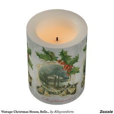 Vintage Christmas House, Bells and Holly Flameless Candle