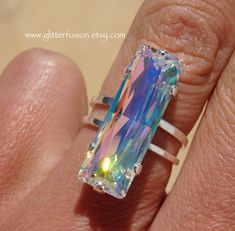 AB Transmission Swarovski Crystal Baguette Statement Ring, Big Colorful Crystal Pageant Modern Edgy High Fashion Ring, GlitterFusion Jewelry Swarovski Crystal Necklace, Crystal Jewelry, Swarovski Crystals, Bohemian Style Jewelry, Glam And Glitter, Bridesmaid Earrings, Statement Rings, Baguette, Beautiful Necklaces