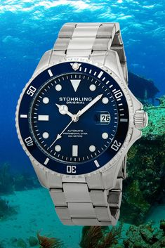 Stuhrling AquaDiver Regatta - Fit Stop Garage Automatic Watches For Men, Rolex Submariner, Rolex Watches, Fit, Jewelery, Garage, Clocks, Jewlery, Carport Garage