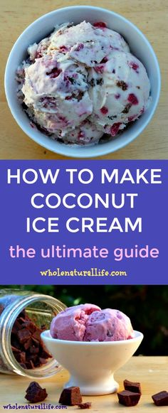 Want to make your own coconut ice cream? I've made hundreds of batches of homemade coconut ice cream, and I share all my best tips in this guide! (how to make frosting dairy free) Paleo Coconut Ice Cream Recipe, Homemade Coconut Ice Cream, Coconut Milk Icecream, Making Homemade Ice Cream, Homemade Dog, Coconut Oil, Ice Cream Desserts, Frozen Desserts, Ice Cream Recipes