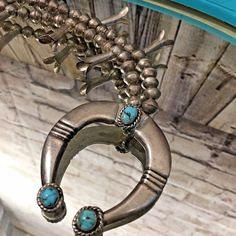 Vintage Authentic Navajo Sterling Silver and Turquoise Squash Blossom Necklace  #Unbranded