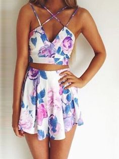 White Printed Deep V Strappy Crop Top with Skirt