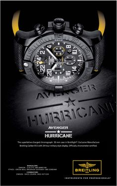 View Breitling Avenger Hurricane Watch Instrument For Professional Ad newspaper. This Ad is collection of Sample Ad at Advert Gallery. Hurricane Watch, Website Color Schemes, Army Gifts, Cool Watches, Tag Watches, Beige Blonde, Skin Spots, Watch Ad, Ads Creative