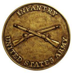 US Infantry plaque in metallic paint.