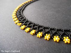Sage's Cupboard Handmade Egyptian Jewelry and Tribal Beadwork - Bumblebee Floral Mini Collar. Black and Yellow Handmade Beaded Daisy N -The Sage's Cupboard Handmade Egyptian Jewelry and Tribal Beadwork - Bumblebee Floral Mini Collar. Black and Yellow H. Seed Bead Necklace, Seed Bead Bracelets, Seed Bead Jewelry, Bead Jewellery, Beading Jewelry, Daisy Necklace, Floral Necklace, Black Necklace, Seed Beads