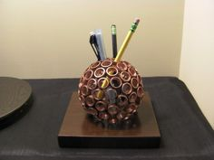 Copper Ring Sphere Pencil Holder/Paperweight